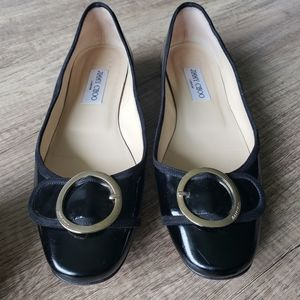 Jimmy Choo Patent Leather Flats with Buckle Accent
